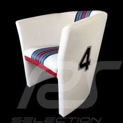 Fauteuil cabriolet Tub chair Tubstuhl Racing Inside n° 4 blanc Racing team / rouge