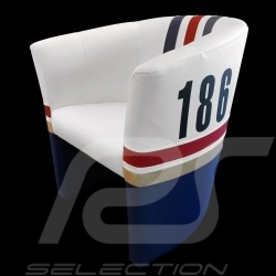 Fauteuil cabriolet Tub chair Tubstuhl Racing Inside n° 186 blanc / bleu / rouge / or Dakar