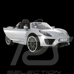 Battery vehicle Electric carrier for children 12V Porsche 918 Spyder Silver grey