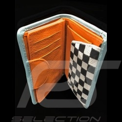 Gulf logo Wallet Card holder and coin purse Blue Leather