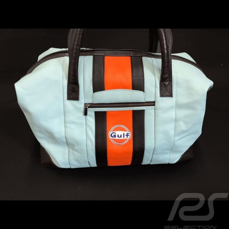 Gulf Racing Reisetasche Leder blau / orange / schwarz