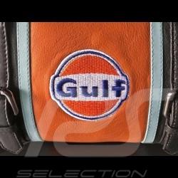Sac à main Gulf style bowling cuir bleu / orange / noir handbag Handtasche