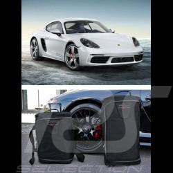 Porsche 991 Reisegepäck Maßgefertigt aus schwarzem Stoff - Trolley und Reisetasche