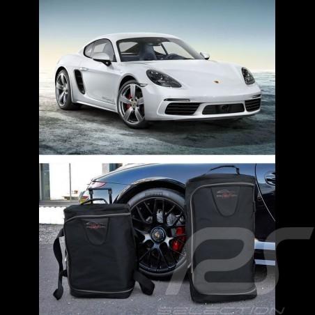 Ensemble de bagages Porsche Cayman 718 sur mesure en toile noir - Trolley et sac de voyage Luggage set Reisegepäck