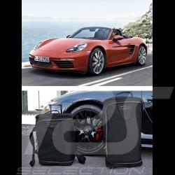 Ensemble de bagages Porsche Boxster 718 sur mesure en toile noir - Trolley et sac de voyage Luggage set Reisegepäck
