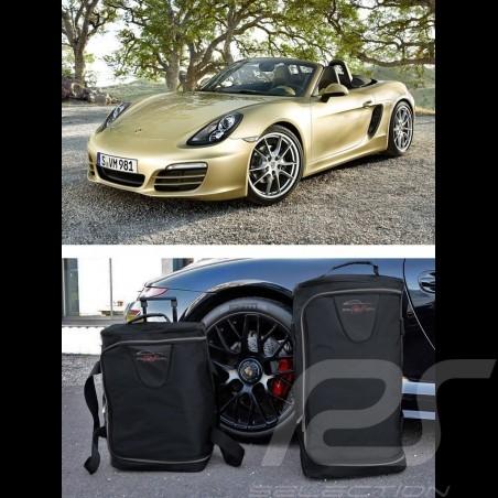 Ensemble de bagages Porsche Boxster 981 sur mesure en toile noir - Trolley et sac de voyage Luggage set Reisegepäck