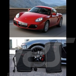 Luggage set for Porsche Cayman 987 Custom fit black fabric - Wheeled trolley plus carrier bag