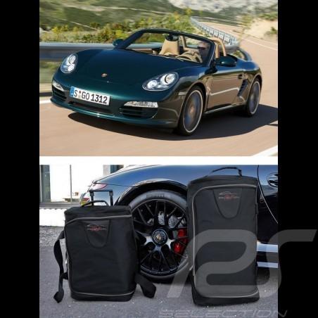 Ensemble de bagages Porsche Boxster 987 sur mesure en toile noir - Trolley et sac de voyage Luggage set Reisegepäck