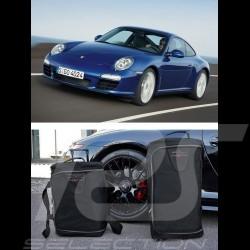 Ensemble de bagages Porsche 997 sur mesure en toile noir - Trolley et sac de voyage Luggage set Reisegepäck