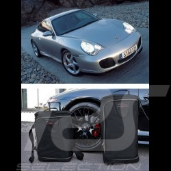 Porsche 996 Luggage set Custom fit black fabric - Wheeled trolley plus carrier bag