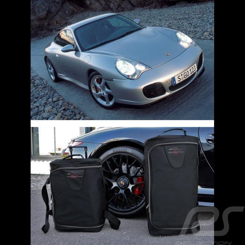 Ensemble de bagages Porsche 996 sur mesure en toile noir - Trolley et sac de voyage Luggage set Reisegepäck