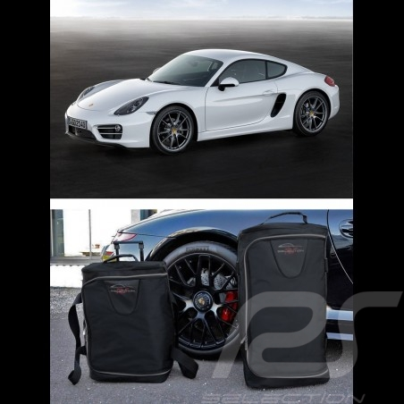 Ensemble de bagages Porsche Cayman 981 sur mesure en toile noir - Trolley et sac de voyage Luggage set Reisegepäck