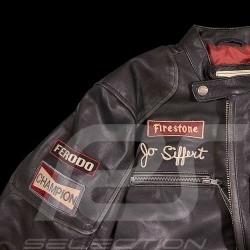 Veste cuir pilote Jo Siffert Classic driver noir - homme Leather jacket Leederjack black schwarz men herren