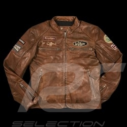 Veste cuir pilote Jo Siffert Classic driver marron - homme Leather jacket Lederjacke men herren brown braun