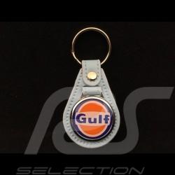 Schlüsselanhänger Gulf Wappen Lederplatte Gulfblau