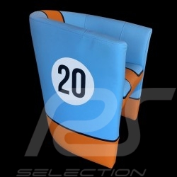 Fauteuil cabriolet en cuir Leather Tub chair Leder Tubstuhl Racing Inside n° 20 bleu Racing team / orange