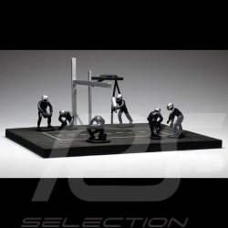 Diorama figurines Set Pit stop 6 mechanics - Blue 1/43 IXO FIG002SET
