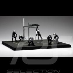Diorama Set-Figuren Pit stop 6 Mechaniker - Blau 1/43 IXO FIG002SET