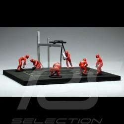 Diorama figurines Set Pit stop 6 mechanics - Red 1/43 IXO FIG001SET