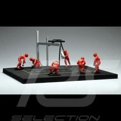 Set figurines diorama Pit stop 6 mécaniciens - Rouge 1/43 IXO FIG001SET mechanics mechaniker red rot figuren