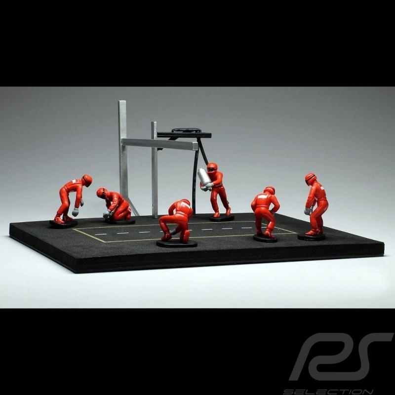 Set figurines diorama Pit stop 6 mécaniciens - Rouge 1/43 IXO FIG001SET mechanics mechaniker red rot figuren