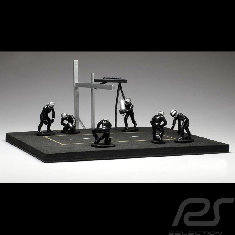 Set figurines diorama Pit stop 6 mécaniciens - noir 1/43 IXO FIG003SET mechanics mechaniker black schwarz figuren