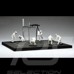 Diorama figurines Set Pit stop 6 mechanics - White 1/43 IXO FIG004SET