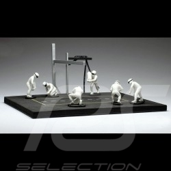 Set figurines diorama Pit stop 6 mécaniciens - blanc 1/43 IXO FIG004SET mechanics mechaniker white weiß figuren
