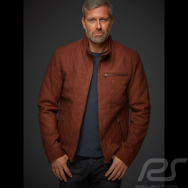 Gentleman driver quilted Leather short  jacket cognac - men