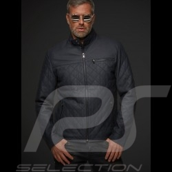 Gentleman driver quilted Leather short jacket slate grey - men