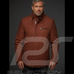 Veste cuir gentleman driver matelassée cognac - homme men herren leather jacket lederjacke