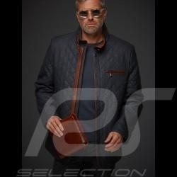 Gentleman driver quilted Leather jacket slate grey - men