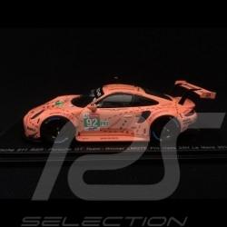 Porsche 911 RSR type 991 vainqueur winner sieger 24h du Mans 2018 n° 92 70 ans Porsche 1/43 Spark S7033 Cochon rose Pink pig Sau