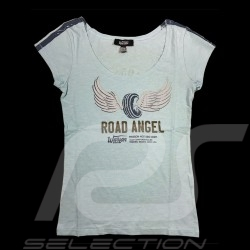 Road Angel T-shirt Vintage design Sky blue - women