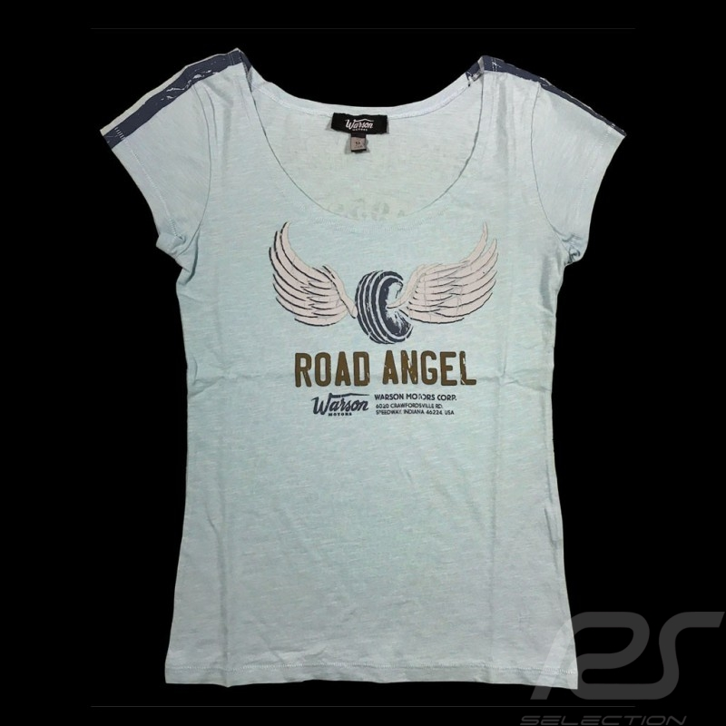 T-shirt Road Angel Style Vintage bleu ciel Sky blue Hellblau femme women damen