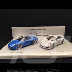 Set Porsche 911 Speedster type 997 pur blue / 911 Sport Classic type 997 Sport classic grey 1/43 Minichamps WAP020SET30