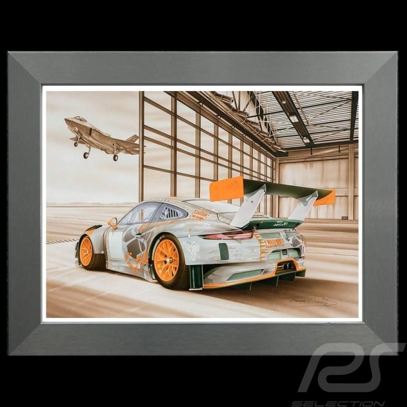 Porsche Poster 911 type 991 GT3 RSR War machine Cadre aluminium François Bruère - N138