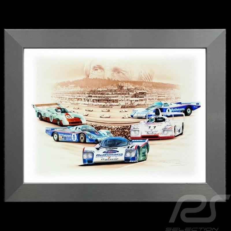 Poster Porsche Derek Bell 5 victoires au Mans Cadre aluminium François Bruère - N95