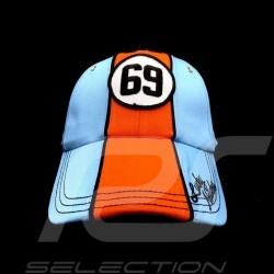 Casquette Cap Kappe Gulf 69 Lucky Number bleu / orange blue blau