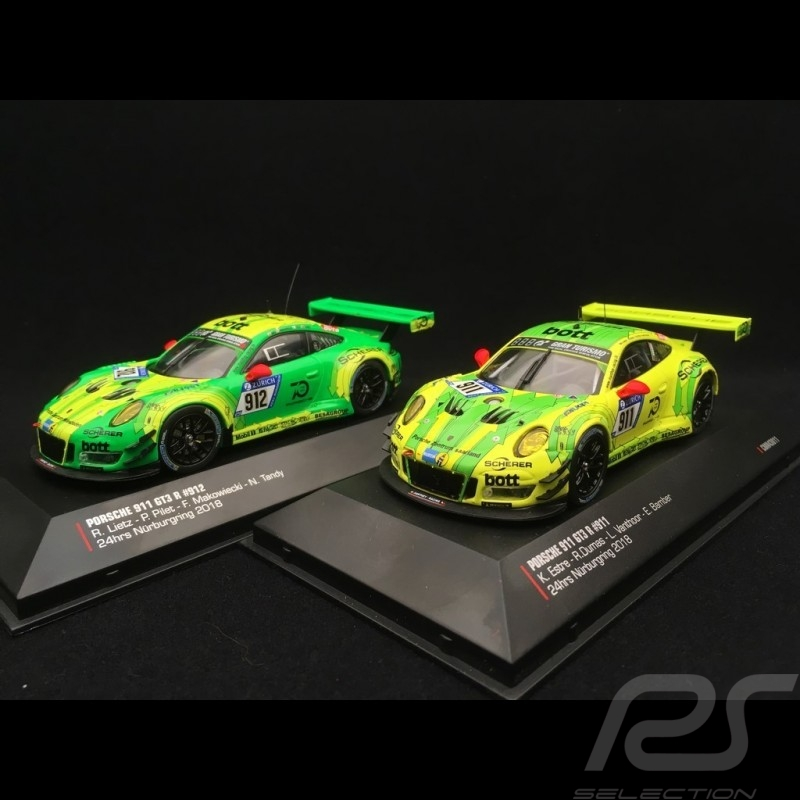 Duo Porsche 911 type 991 GT3 R 24h Nürburgring 2018 n° 911 and 912 1/43 IXO 43011 43012