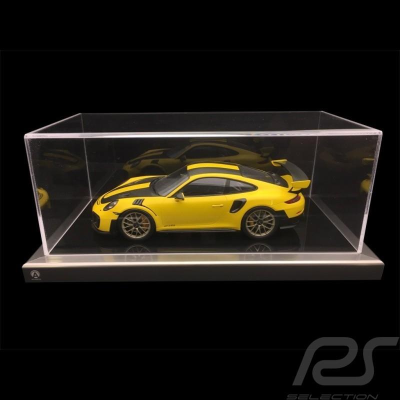1/18 showcase for Porsche model black base / alu surround premium quality
