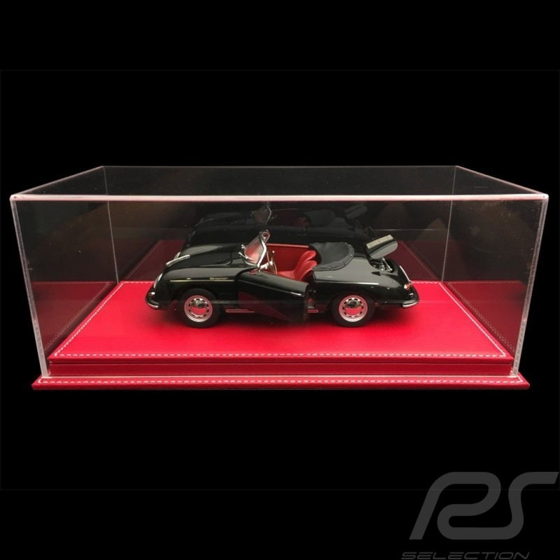 1/18 showcase for Porsche model Red leatherette base premium quality