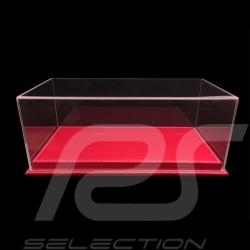 Vitrine display showcase 1/18 pour miniature Porsche Base rouge simili cuir qualité premium