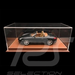 Vitrine display showcase 1/18 pour miniature Porsche Base café expresso simili cuir qualité premium