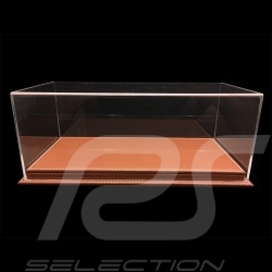 Vitrine display showcase 1/18 pour miniature Porsche Base café expresso simili cuir qualité premium