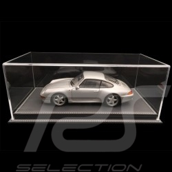 Vitrine display showcase 1/18 pour miniature Porsche Base gris anthracite simili cuir qualité premium