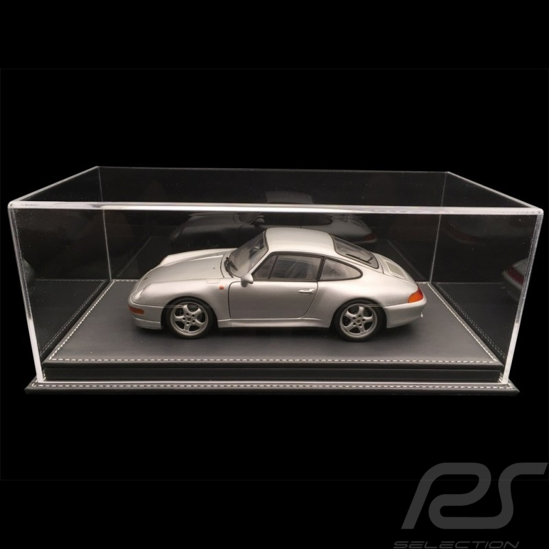 1/18 showcase for Porsche model anthracite grey leatherette base premium quality