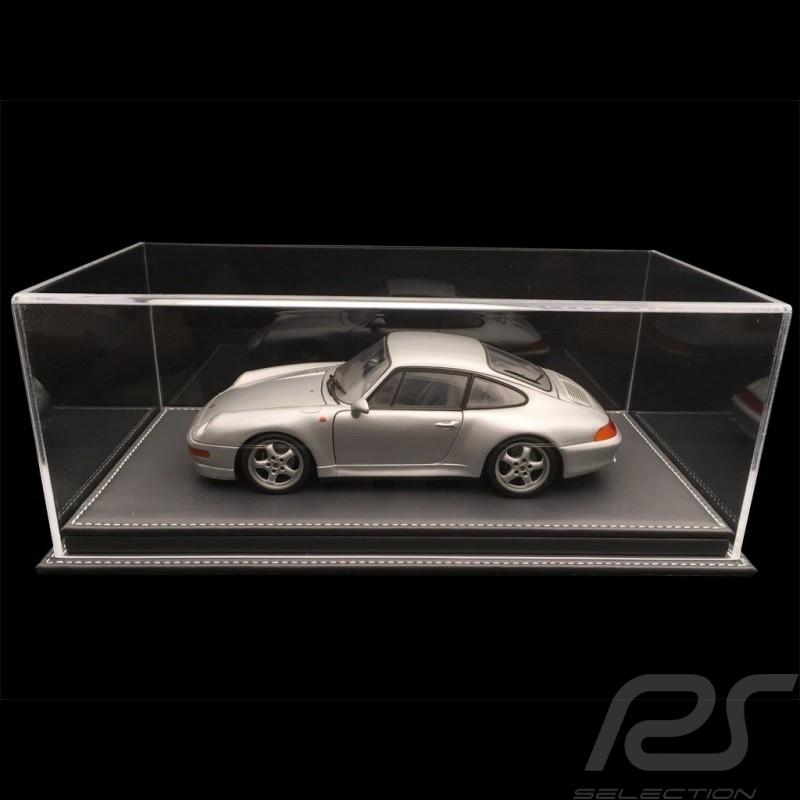 Vitrine display showcase 1/18 pour miniature Porsche Base gris anthracite simili cuir qualité premium