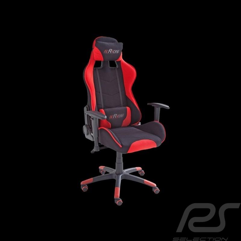 Siège de bureau ergonomique Racing RS Tissu rouge / noir Fauteuil gamer réglable office armchair Bürostuhl