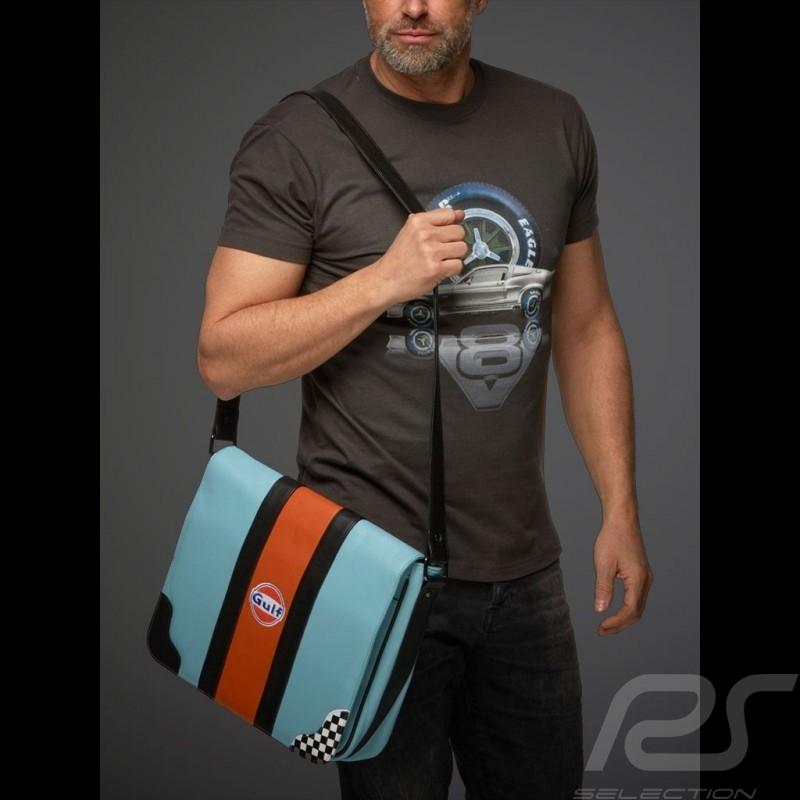 Sac reporter Gulf messenger à bandoulière cuir bleu damier messenger bag messengertasche blue blau